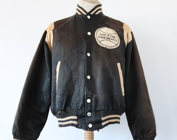 "Vintage 1950s 50s 1960s 60s black white satin varsity jacket Victor chemicals patch 50"" chest sun faded college American"
