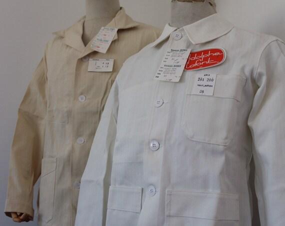 "Vintage 1960s 60s deadstock french white blanc de travail painters hbt cotton herringbone twill chore work jacket workwear 36"" 39"" 40"" chest"