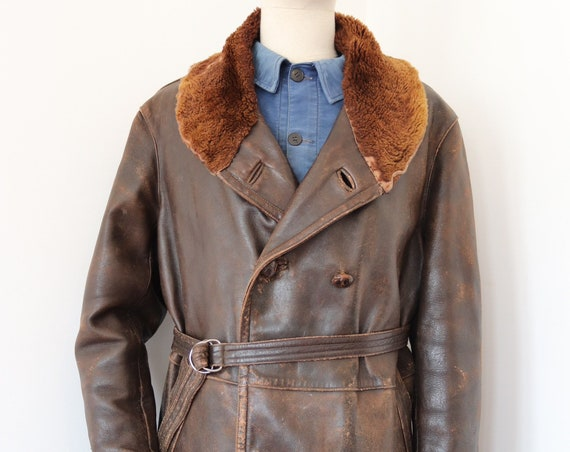 """Vintage 1950s 50s french brown leather shearling sheepskin barnstormer jacket canadienne belted double breasted 51"""" chest rockabilly mouton"""