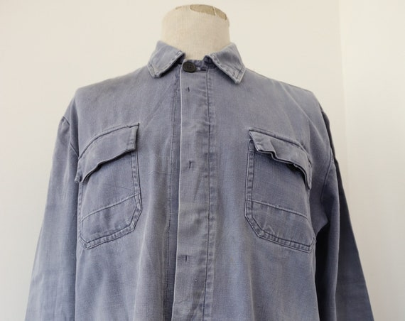 "Vintage french cotton twill bleu de travail faded indigo blue chore work jacket 48"" chest workwear (2)"