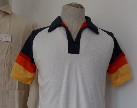 """Vintage 1980s 80s Kennington Californian terry towelling sunset beach top t shirt white red blue 40"""" chest dog town skate tennis"""
