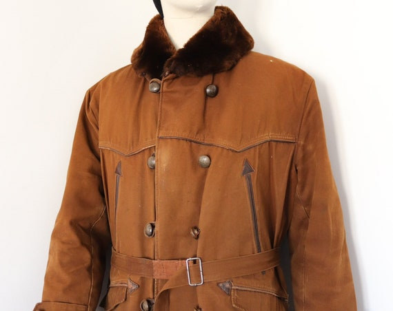 """Vintage 1940s 40s 1950s 50s french brown Canadienne barnstormer canvas shearling jacket mouton collar double breasted belted 48"""" chest"""
