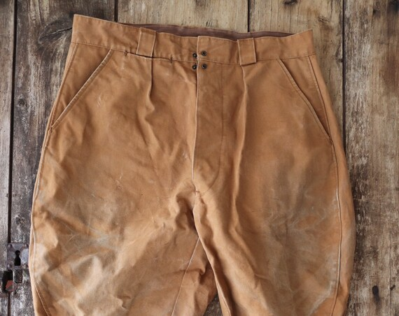 """Vintage 1960s 60s french tan brown tin cloth cotton canvas hunting riding breeches button fly lace up ankle lacing plus fours 34"""" x 24"""""""