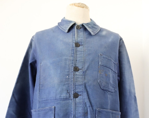 "Vintage 1950s 50s french bleu de travail blue moleskin chore work jacket workwear 45"" chest sun faded darned repaired Le Mont St Michel"