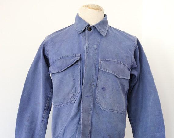 "Vintage 1960s 60s french blue bleu de travail blouson work chore workwear jacket 40"" chest cotton twill indigo"