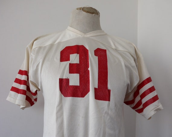 "Vintage 1980s 80s nylon mesh american football top t shirt red white 31 sportswear jock 38"" chest"