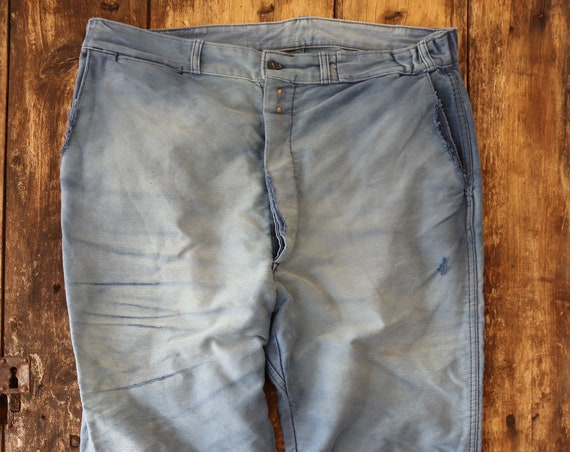 "Vintage 1950s 50s french blue bleu de travail moleskin work chore trousers pants workwear 38"" x 28"" repaired darned button fly (4)"