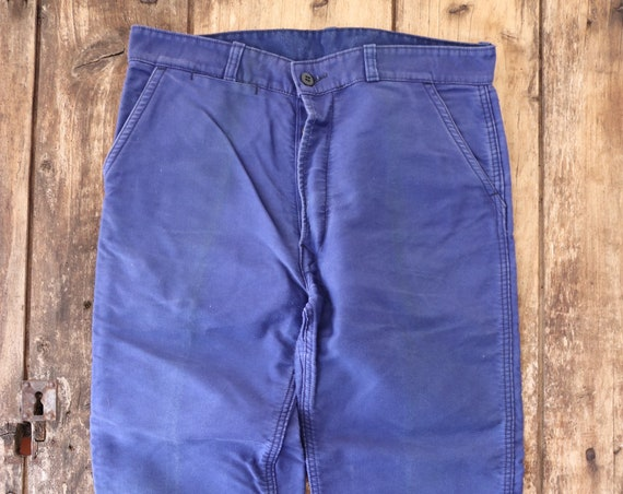 "Vintage french blue bleu de travail moleskin work chore trousers pants workwear 34"" x 27"" button fly le Beau Fort"