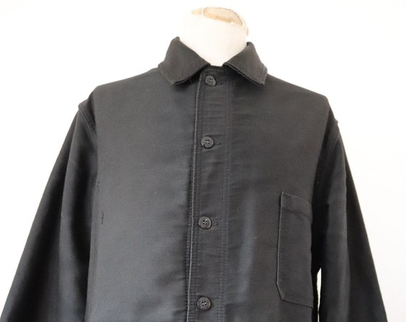 "Vintage french black moleskin work chore jacket workwear Le Laboureur 47"" chest"