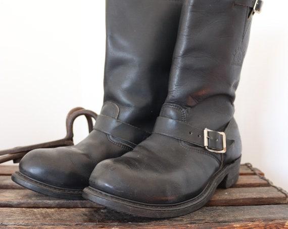 Vintage black leather Carolina engineer boots made in USA biker motorcycle rockabilly steel toe UK 9 EUR 43