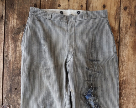"""Vintage 1950s 50s french grey striped trousers pants button fly darned repaired 31"""" x 27"""" work workwear chore"""