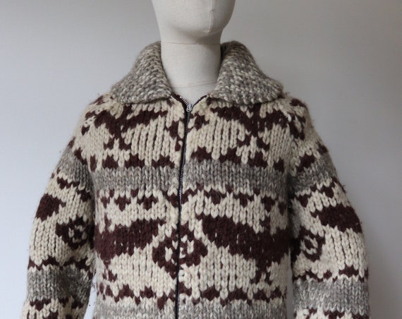 "Vintage 1960s 60s chunky heavyweight hand knitted wool brown cream grey cowichan zip up sweater cardigan jumper thunderbird 41"" chest unisex"
