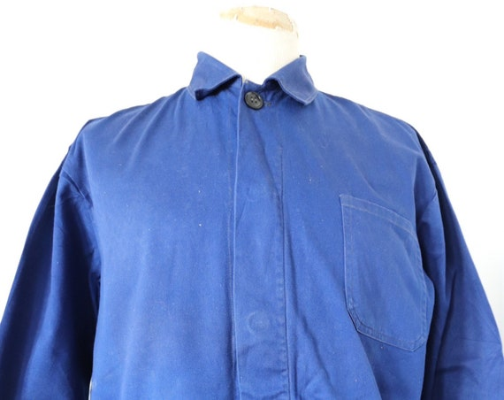 "Vintage french indigo blue cotton twill work chore jacket 49"" chest workwear"