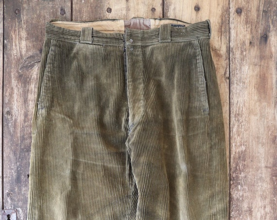 "Vintage french khaki green brown corduroy trousers pants workwear chore farm 35"" x 28"" hunting"