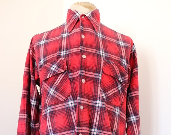 "Vintage 1960s 60s Presscott red white blue checked soft flannel shirt 46"" chest rockabilly flap pocket"