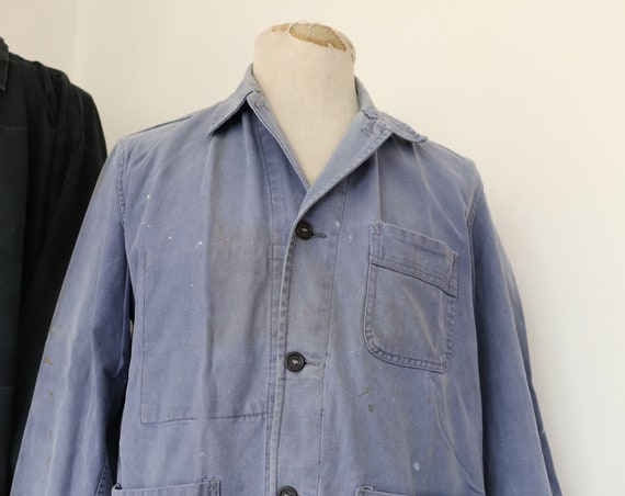 "Vintage 1950s 50s french blue bleu de travail indigo cotton twill chore work jacket workwear 44"" chest repaired (15)"