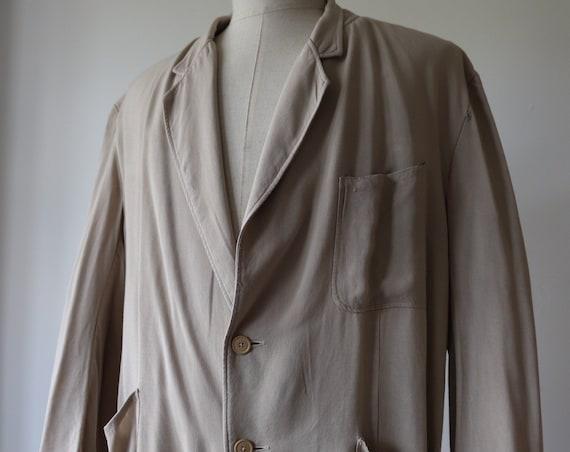 "Vintage 1960s 60s cream beige Moygashel drape blazer jacket 50"" chest rockabilly gabardine rayon gab linen"