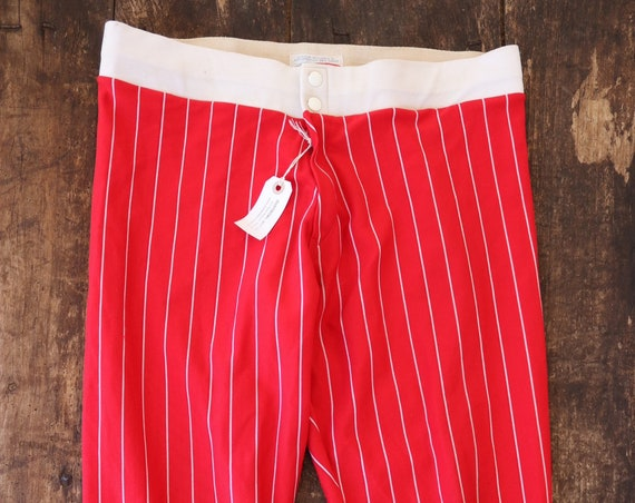 "Vintage 1960s 60s 1970s 70s nylon red white striped base ball pants trousers sportswear Talon zipper 33"" x 23"""