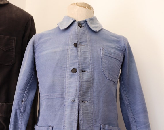 "Vintage 1950s 50s french bleu de travail blue moleskin chore work jacket workwear 36"" chest sun faded darned repaired (1)"