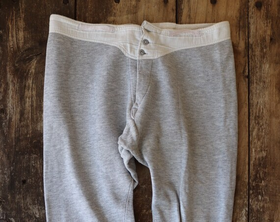 """Vintage 1980s 80s french army military grey marl jersey flocked long johns underwear thermal cinch back button fly lounge 33"""" x 27"""""""