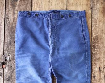 """Vintage 1950s 50s french indigo blue bleu de travail moleskin chore work pants trousers workwear 37"""" x 25"""" Le Mont St Michel"""