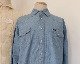 "Vintage 1990s 90s Wrangler chambray denim western shirt pearl snaps cowboy XL 52"" chest"