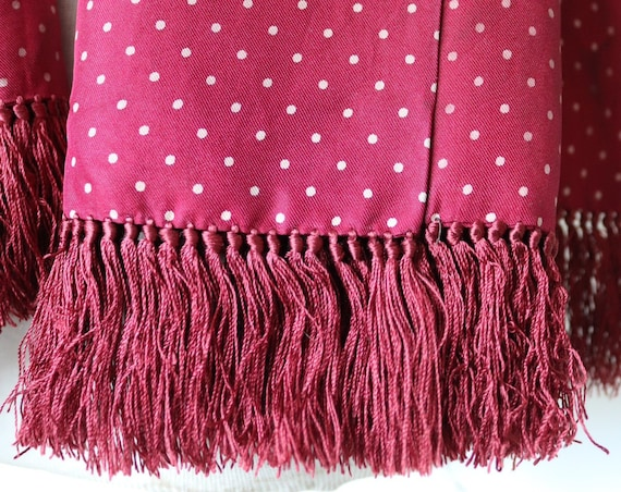 Vintage 1960s 60s wide burgundy maroon red silk tassled scarf mod dapper spotty spotted