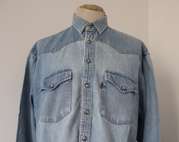 "Vintage pale blue denim Levis Levi Strauss cowboy western shirt 53"" chest XXL red tab small e"