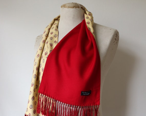 Vintage 1960s 60s Tootal double sided yellow red rayon tassled scarf mod dapper paisley