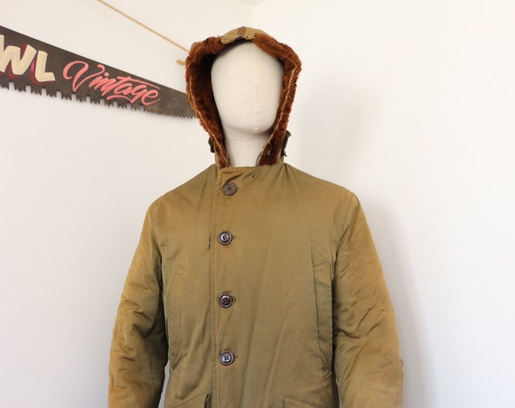 "Vintage 1950s 50s USAF US Air Force B-9 B9 khaki green parka jacket 44"" chest mouton collar military Talon zipper split hood"
