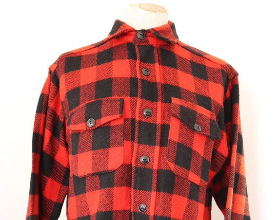 """Vintage 1960s 60s Melton red black checked plaid wool cpo shirt 47"""" chest hunting sun faded"""