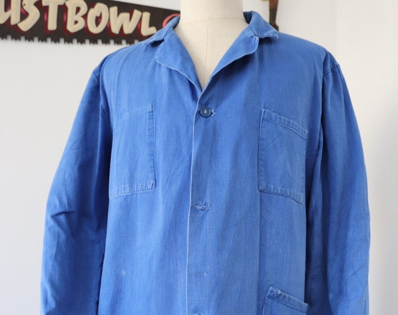 "Vintage french cotton twill long factory chore work jacket coat back belt 48"" chest workwear duster"