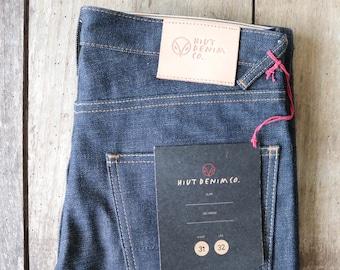 "Hiut Denim slim selvedge organic indigo jeans 32"" x 33"" handmade in Wales"