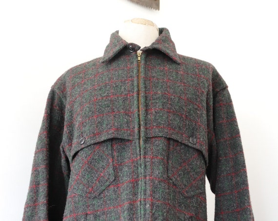 """Vintage LL Bean grey red green checked wool zip up jacket 48"""" chest hunting hiking camping"""