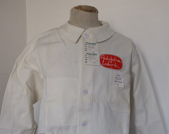 """Vintage 1960s 60s deadstock french white hbt herringbone cotton twill painters chore work jacket workwear 47"""" chest"""