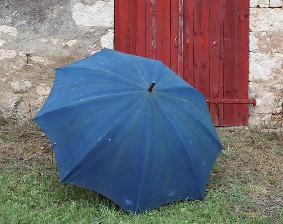 "Antique large french shepherds indigo cotton oak brass parasol umbrella workwear work farmer shop display 44"" x 58"""