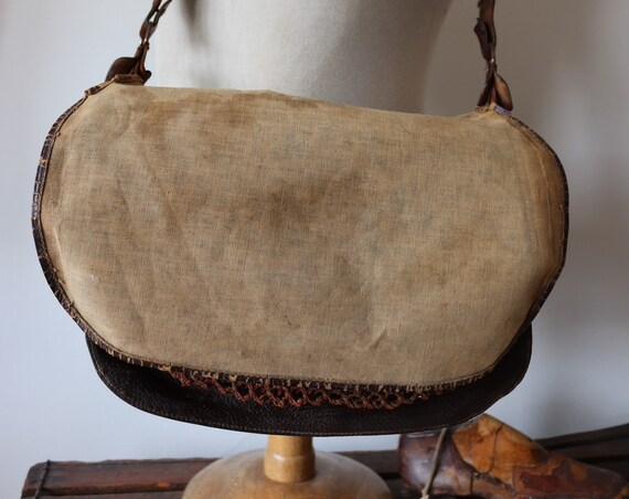 Vintage 1950s 50s french canvas leather hunting fishing shooting game work workwear groundskeeper shoulder bag net