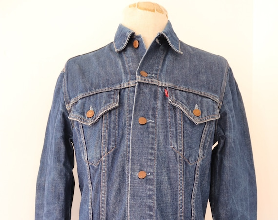 "Vintage Levis Strauss indigo blue denim trucker jacket type three 70500 small e red tab 39"" chest workwear"