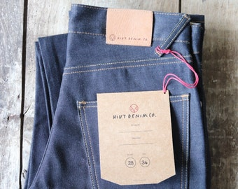 "Hiut Denim regular organic indigo jeans 29"" x 34"" handmade in Wales"