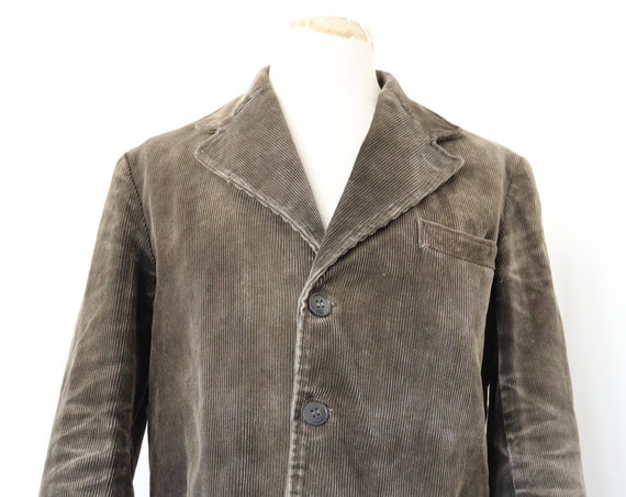 """Vintage 1950s 50s french brown corduroy work chore jacket 42"""" chest workwear Le Montford"""