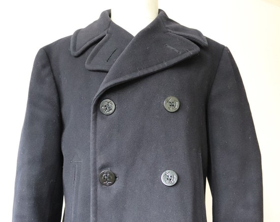 """Vintage 1960s 60s midnight blue wool USN US Navy pea coat 42"""" chest military vietnam era naval double breasted"""