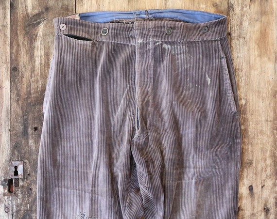 "Vintage 1940s 40s 1950s 50s french brown corduroy chore work trousers pants buckle cinch back 36"" x 29"" workwear repaired darned"