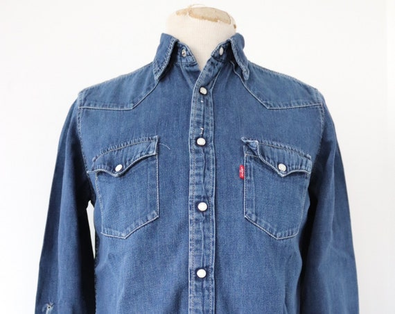 "Vintage levis Levis Strauss indigo blue denim shirt cowboy western pearl snap 40"" chest red tab"