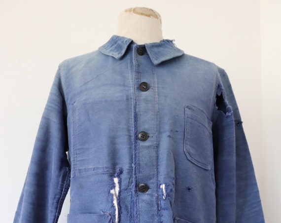 """Vintage 1960s 60s french blue bleu de travail moleskin jacket repaired darned repair sun faded 46"""" chest work chore workwear project"""