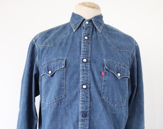 "Vintage levis Levis Strauss indigo blue denim shirt cowboy western pearl snap 47"" chest red tab"