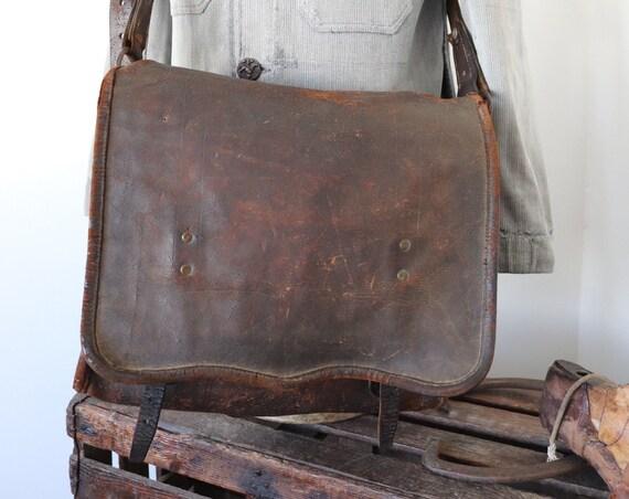Vintage 1930s 30s french brown leather shoulder cross body post postal bag satchel