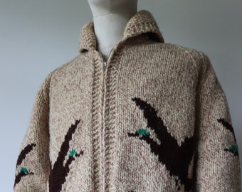 "Vintage 1960s 60s hand knitted wool cowichan sweater cardigan 44"" chest rockabilly novelty ducks geese lightning zipper shawl collar"