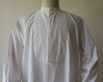 "Vintage 1930s 30s Acko fine white cotton dress shirt 16"" collar 50"" chest grandad collar Peaky Blinders cufflinks studs bib front"