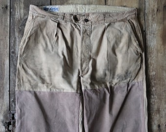 """Vintage 1950s 50s french khaki tan brown workwear chore work pants trousers 38"""" x 27"""" patched repaired"""