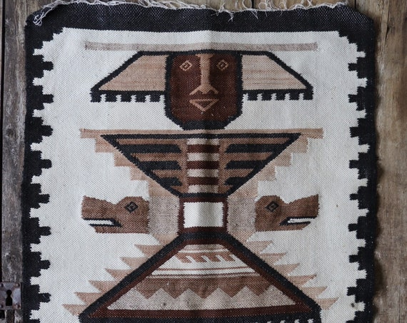 """Vintage 1970s 70s Mexican hand woven wool wall hanging art rug black cream brown south western 24"""" x 38"""""""